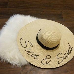New sun hat floppy woven sequin sun and sand A1